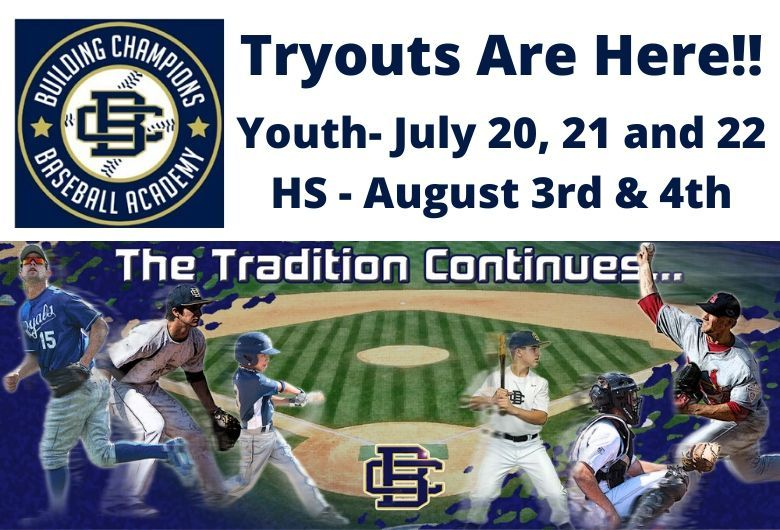 Building Champions baseball tryouts ages 8u to high school